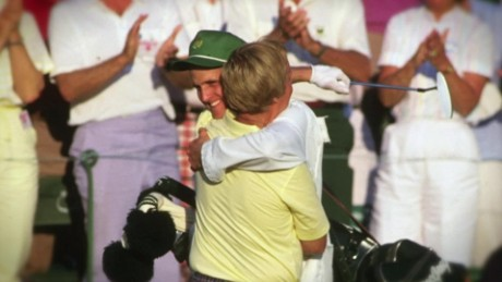 Jack Nicklaus and his son embrace at Augusta in 1986.