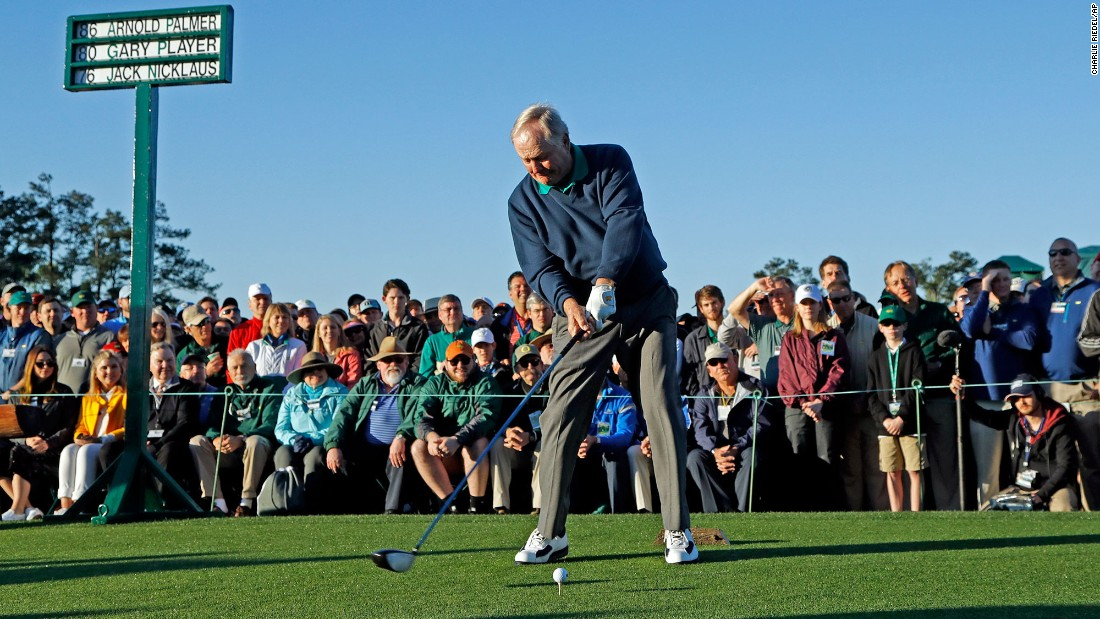 Nicklaus hits his ceremonial tee shot.
