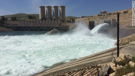 Only one of the Mosul Dam's two outlet gates is functioning; the other is awaiting repairs.