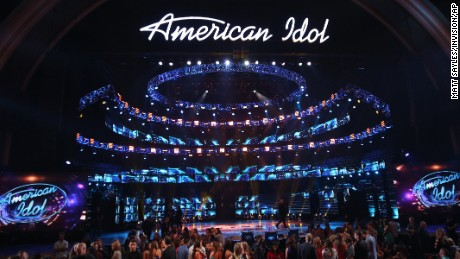 """The stage at the """"American Idol"""" farewell season finale at the Dolby Theatre on Thursday, April 7, 2016, in Los Angeles. (Photo by Matt Sayles/Invision/AP)"""