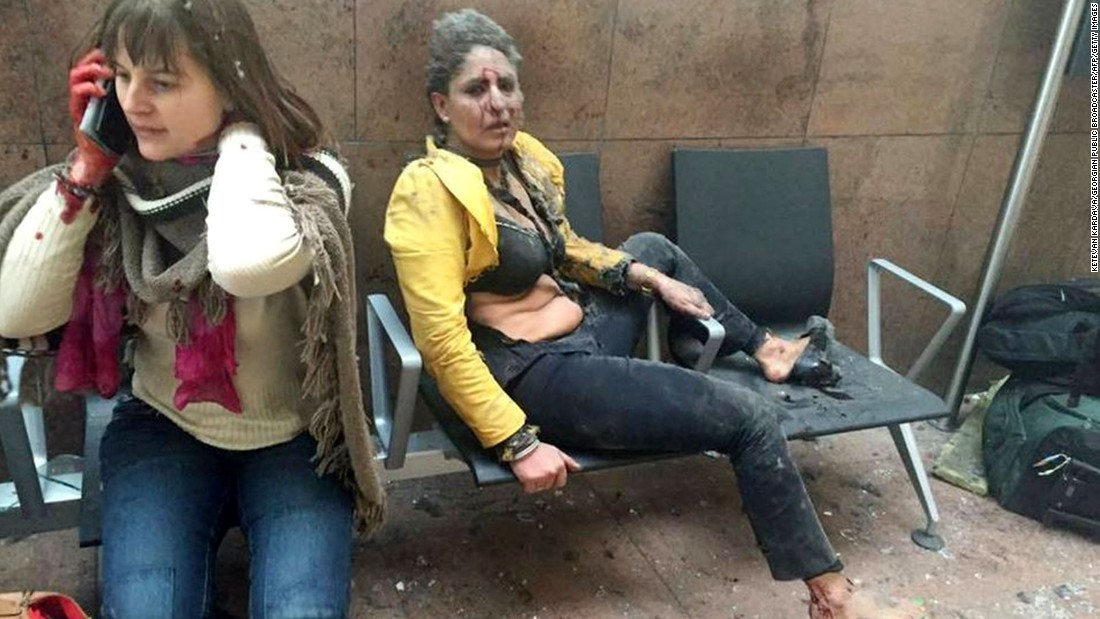 "Two wounded women sit in the airport in Brussels, Belgium, after two explosions rocked the facility on March 22. A subway station in the city <a href=""http://www.cnn.com/2016/03/24/europe/brussels-investigation/index.html"" target=""_blank"">was also targeted in terrorist attacks</a> that killed at least 30 people and injured hundreds more. Investigators say the suspects belonged to the same ISIS network that was behind the Paris terror attacks in November."