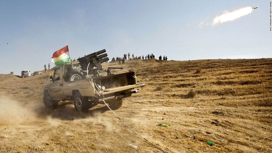 Kurdish Peshmerga fighters fire missiles during clashes with ISIS in Jalawla, Iraq, on June 14, 2014. That month, ISIS took control of Mosul and Tikrit, two major cities in northern Iraq.