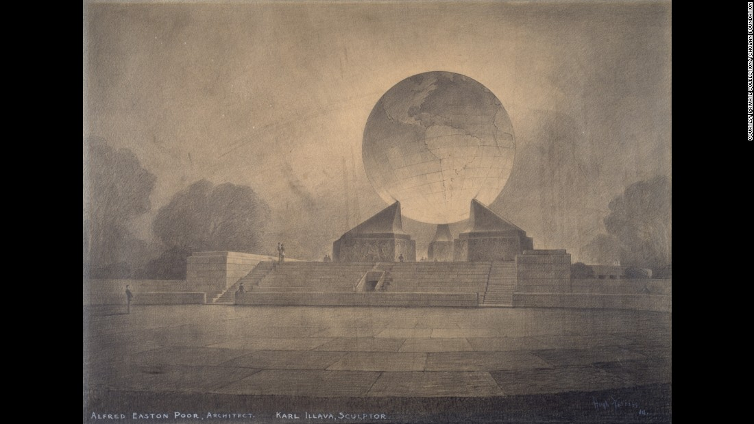 """Little is known about Poor and Illava's concept for a Second World War memorial -- Nadja Bartels, director of the Tchoban Foundation admits as much. The Foundation, which exhibited this concept drawing by Hugh Ferriss at its show """"American Perspectives"""" in 2015, speculated that it could have been envisioned for Central Park, New York, Bartels arguing the monolithic design invokes Boullee's concept for Newton's Cenotaph. Sketched by Ferriss, a trained architect who moved into drawing buildings rather than designing them, the monument would have been the second of Illava's in Central Park -- his memorial to the 107th Infantry was completed in 1927."""