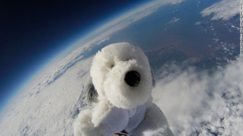 A GoPro attached to Sam the space dog's balloon sent home documentation of Sam's flight.