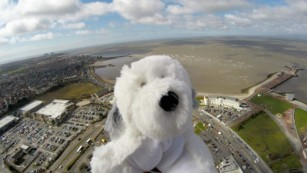 Sam launches from Morecambe Bay Primary School.