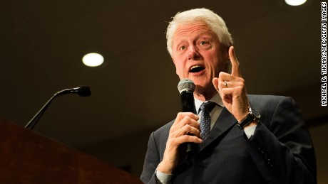 Former US President Bill Clinton speaks to Democratic presidential candidate Hillary Clinton supporters during a rally at the International Association of Machinist and Aerospace Workers Union hall in Bridgeton, Missouri on March 8, 2016.