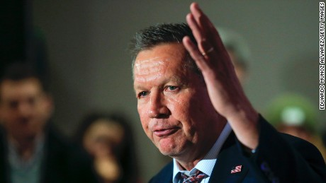 Governor John Kasich speaks to guests at a rally on April 7, 2016 in New York City.
