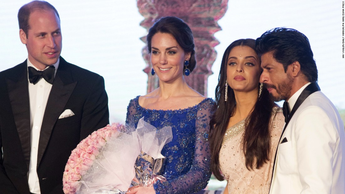 The royal couple poses on stage with actors Aishwarya Rai Bachchan, third from left, and Shah Rukh Khan at a Bollywood Charity Gala in Mumbai on April 10.