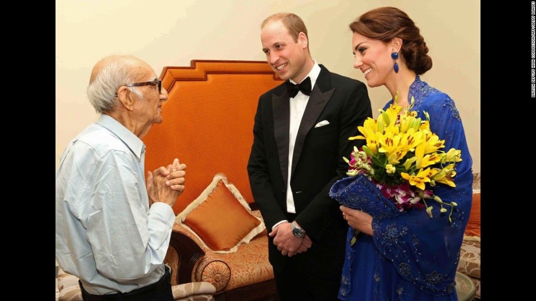The Duke and Duchess of Cambridge speak with Boman Kohinoor during a meeting in Mumbai, India, on Sunday, April 10. Kohinoor, 93, has a strong claim to be India's biggest fan of the British royal family. Giant cardboard cutouts of William and Kate adorn his restaurant. His dream came true after the couple was made aware of a social media campaign with the hashtag #WillKatMeetMe.