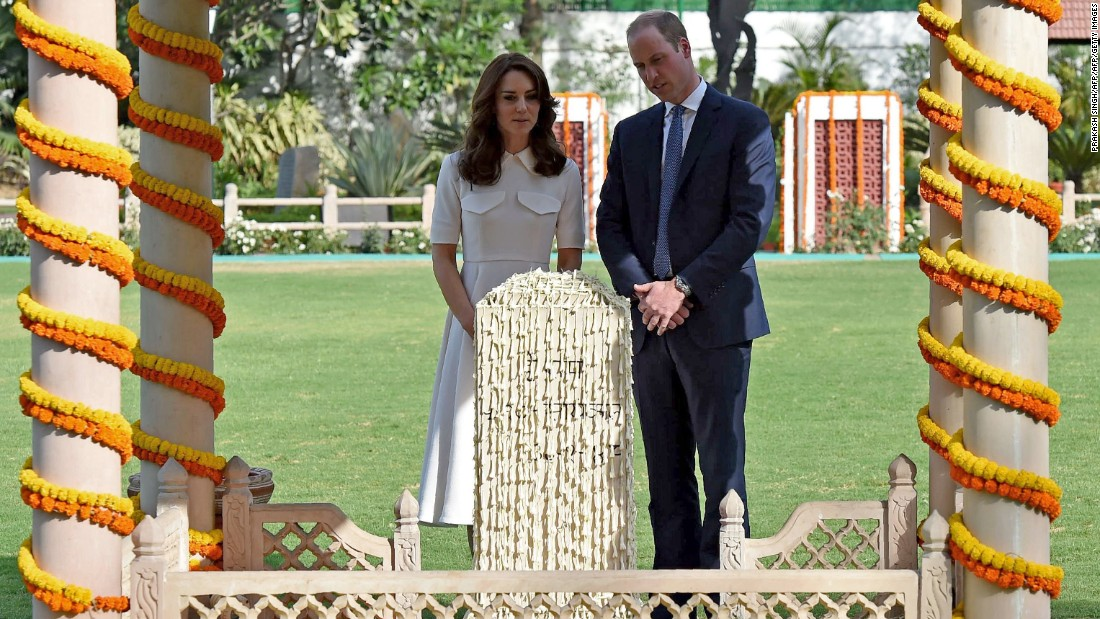 The royals visit Gandhi Smriti, a New Delhi museum dedicated to Mahatma Gandhi, on April 11.