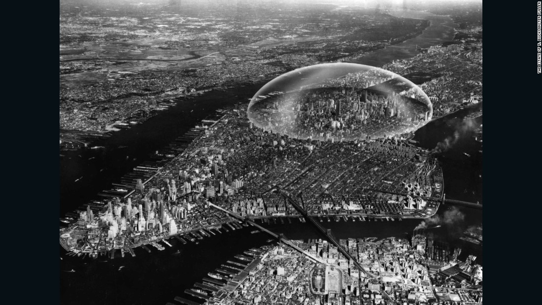 """A two mile-wide geodesic dome over Midtown Manhattan doesn't sound like the most practical way to reduce air pollution and regulate weather, but Buckminster Fuller and Sandao once went to great lengths mapping out plans for one in 1960. Spanning the East River to the Hudson and covering 62nd Street to 22nd Street, they planned for it to be built from shatterproof glass, mist-plated with aluminum to reduce glare from the sun. Weighing 4,000 tonnes, Fuller argued that the structure, built by a fleet of helicopters fitting each glass plate, would cost $200 million and be invisible to the naked eye for those inside. There were potential problems for the dome, however: Fuller stipulated that cars or engines of any kind were to be banned. Oh, and there was the chance the dome might float away. It's been argued that, because the dome's weight was comparable to that of the air beneath it, it could<a href=""""http://www.nous.org.uk/Manhattan.html"""" target=""""_blank""""> float in hot weather</a>, and would have to be anchored in place with cables. Surprisingly, the idea never took off."""