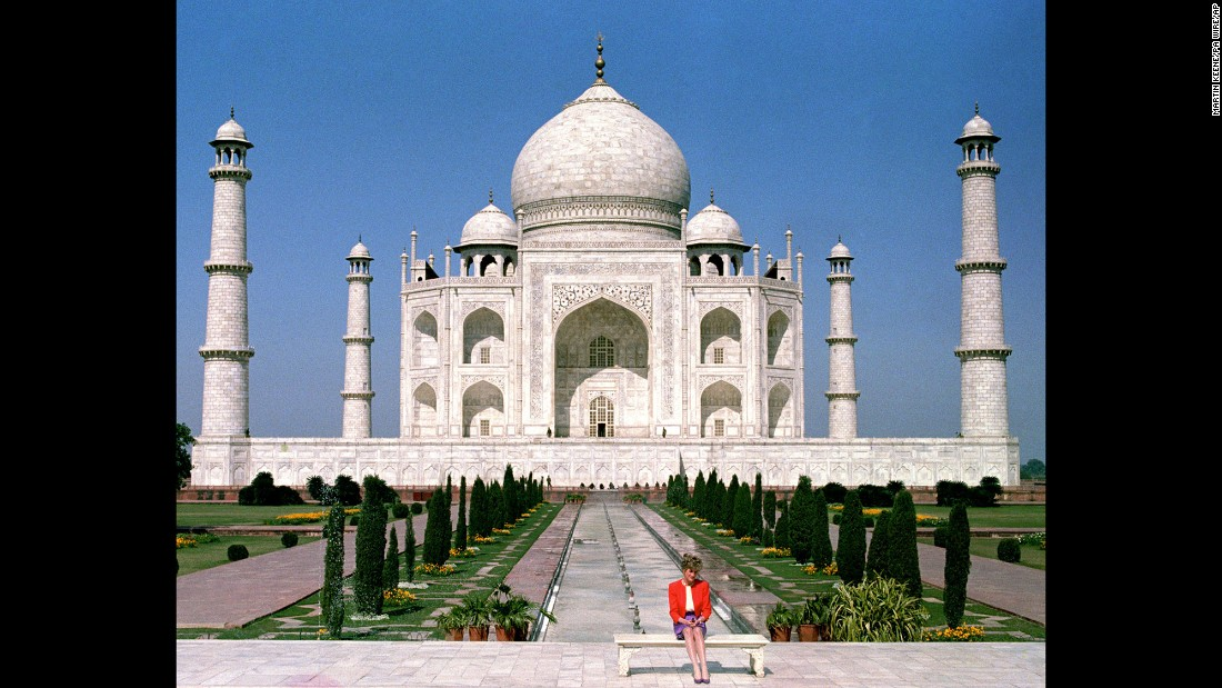 Diana sits in front of the Taj Mahal in India in November 1992.