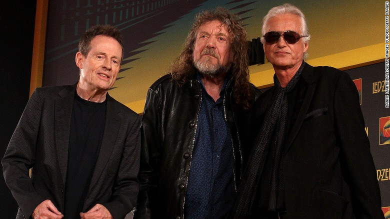 Led Zeppelin's Robert Plant, center, and Jimmy Page, right, with bassist John Paul Jones in 2012.