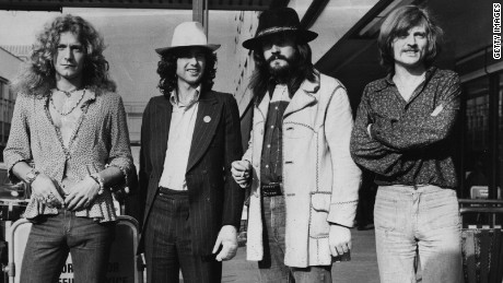June 1973:  British rock band Led Zeppelin. From left to right, Robert Plant, Jimmy Page, John Bonham (1947 - 1980), John Paul Jones.  (Photo by Evening Standard/Getty Images)