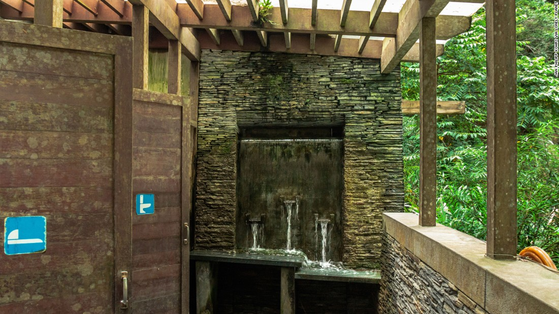 There's no shortage of running water at this bathroom on the Baiyang Waterfall Trail in Taiwan.