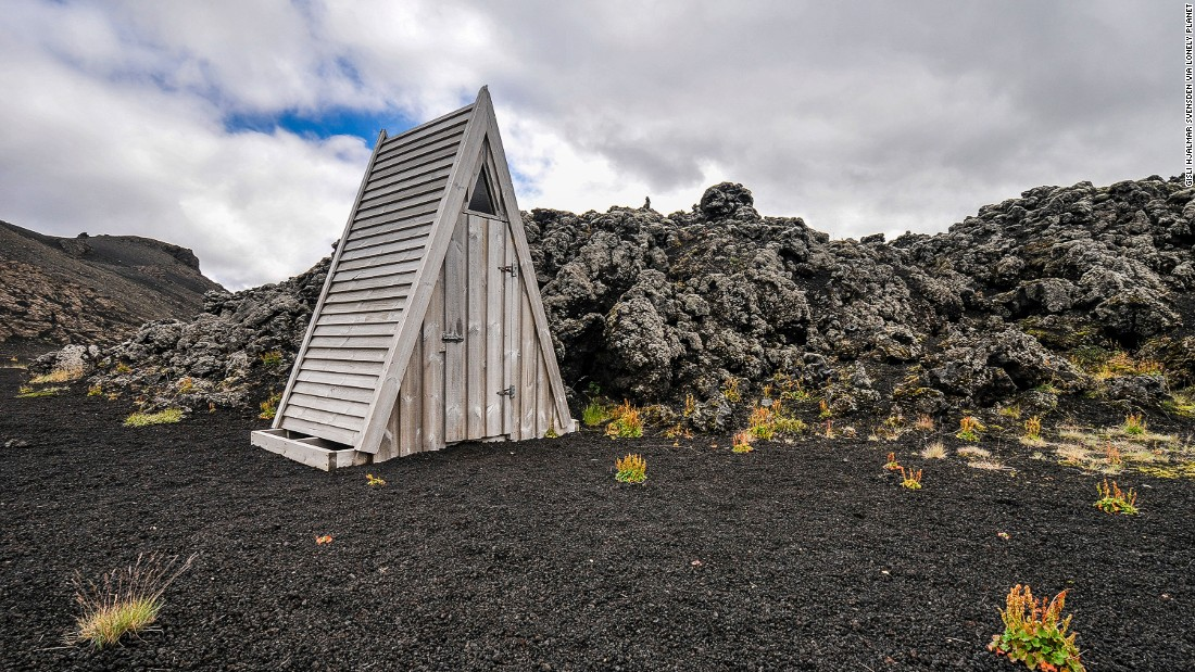 """Forget the petrified lava, the real attraction of the Laugahraun hiking trail is this triangular toilet. (Picture credit: <a href=""""https://500px.com/"""" target=""""_blank"""">500px</a>)"""
