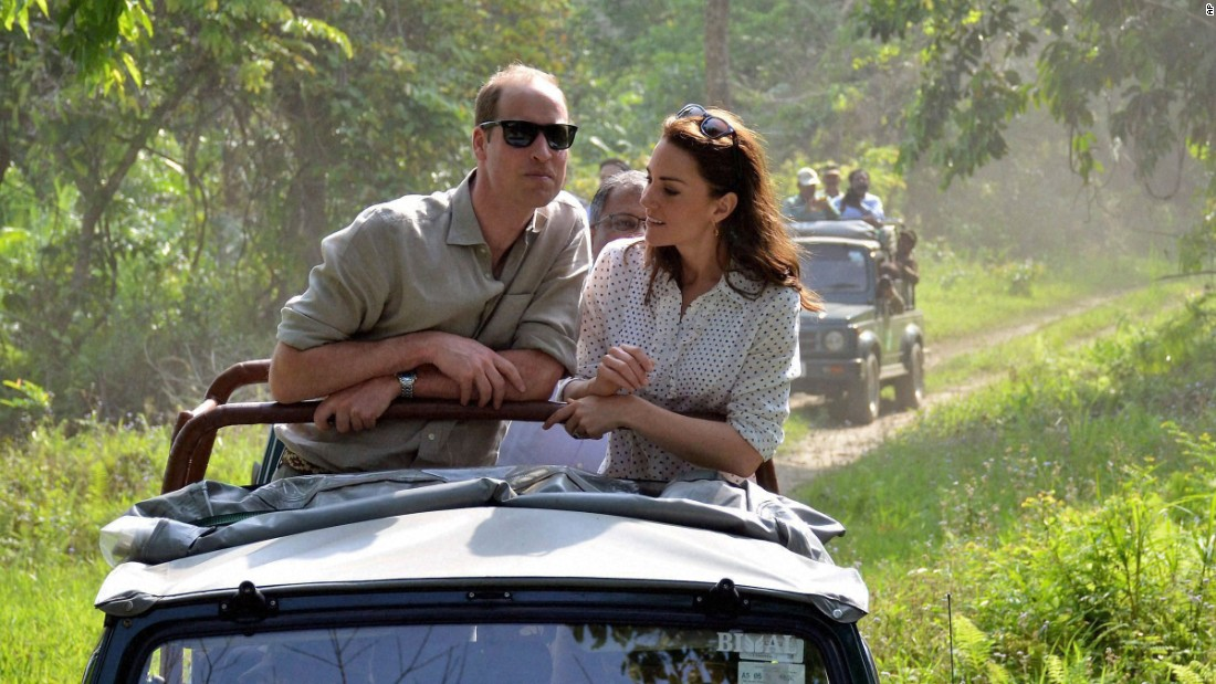 The royal couple takes an open vehicle safari inside Kaziranga National Park on April 13. They spent several hours at the park in hopes of drawing attention to endangered animals, including the park's 2,200 one-horned rhinos.