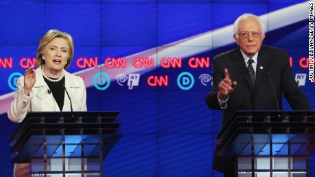 Democratic Presidential candidates Hillary Clinton and Sen. Bernie Sanders (D-VT) debate during the CNN Democratic Presidential Primary Debate at the Duggal Greenhouse in the Brooklyn Navy Yard on April 14, 2016 in New York City.