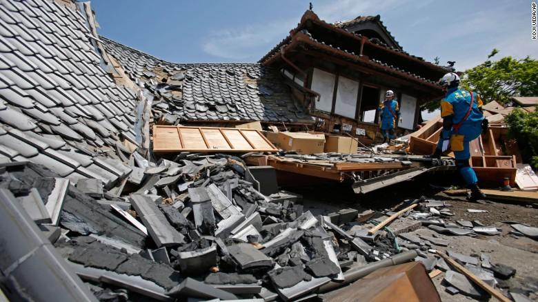 Skutki trzęsienia ziemi wKumamoto