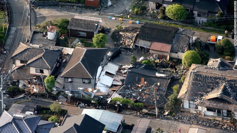 Aerial image shows collapsed houses in Mashiki, Kumamoto.