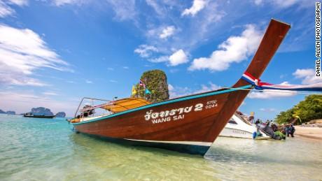 Long-tail boats at Railay, near Krabi
