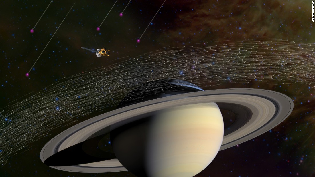 This illustration shows the millions of dust grains NASA's Cassini spacecraft has sampled near Saturn. A few dozen of them appear to have come from beyond our solar system.