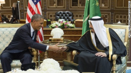 Saudi's newly appointed King Salman (R) shakes hands with US President Barack Obama at Erga Palace in Riyadh on January 27, 2015. Obama landed in Saudi Arabia with his wife First Lady Michelle Obama to shore up ties with King Salman and offer condolences after the death of his predecessor Abdullah. AFP PHOTO / SAUL LOEB        (Photo credit should read SAUL LOEB/AFP/Getty Images)