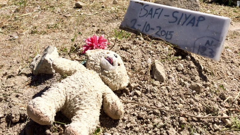 The grave of 1-year old Safi Siyap, who drowned when the Coast guard attempted to rescue her family from a boat crossing the Aegean.