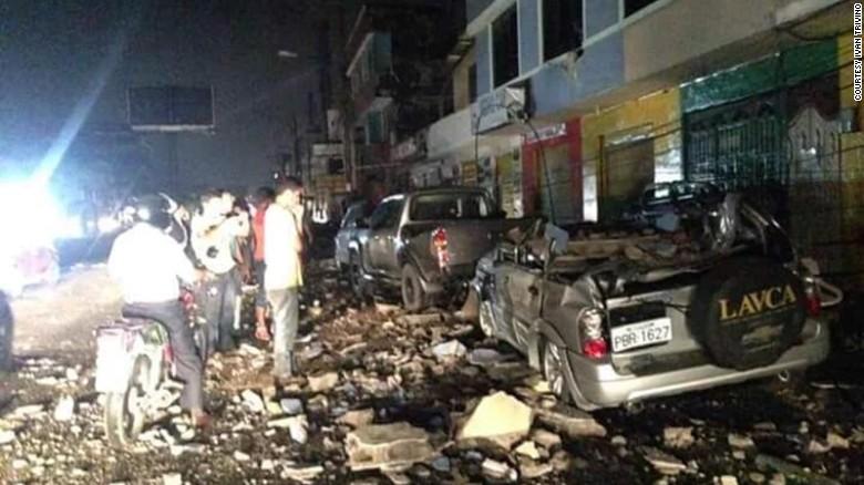 Damage from the earthquake in Esmeraldas City, Ecuador on Saturday, April 16.