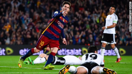 Lionel Messi celebrates his 500th goal for club and country but it was not enough to rescue his side in the Nou Camp.