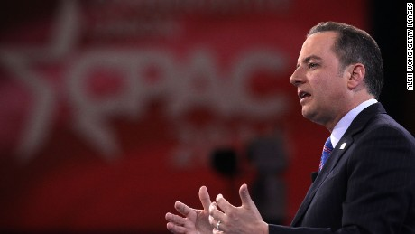Chairman of the Republican National Committee Reince Priebus participates in a discussion during CPAC 2016 March 4, 2016 in National Harbor, Maryland.