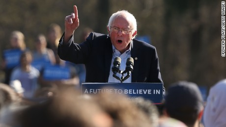 Democratic Presidential candidate Bernie Sanders speaks to throngs of supporters in Prospect Park to hear Democratic Presidential candidate Bernie Sanders speak on April 17, 2016 In the Brooklyn borough of New York City.