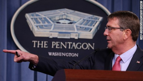 U.S. Secretary of Defense Ashton Carter  at the Pentagon January 28, 2016 in Arlington, Virginia.