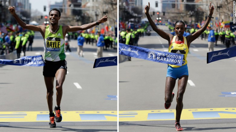 Lemi Berhanu Hayle won the men's Boston Marathon, and Atsede Baysa won the women's race.
