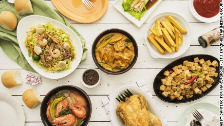 Max's fried chicken has been a staple in the tables and celebrations of Filipino families, along with other favorite homegrown dishes such as (clockwise from top) lumpiang ubod, tokwa't baboy, sinigang na hipon, pancit, and kare-kare.