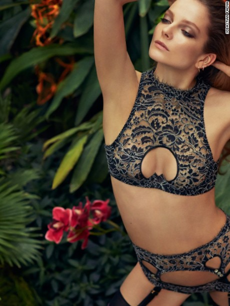 Tamila lingerie set from the Agent Provocateur Soire collection, SS 2015, Model Eniko Mihalik
