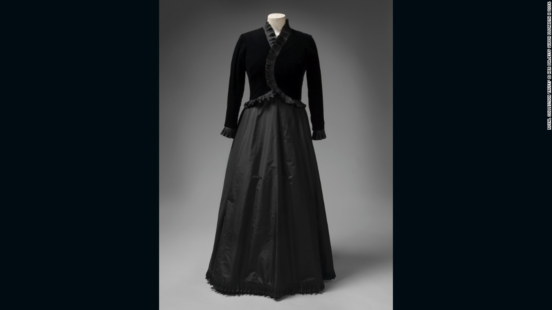 Black silk velvet and taffeta dress by Ian Thomas, worn to meet Pope John Paul II at the Vatican.