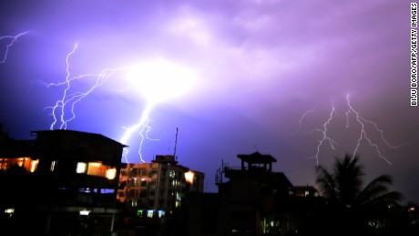 Lightning illuminates the night sky during a storm over Guwahati, India on April 18, 2016.