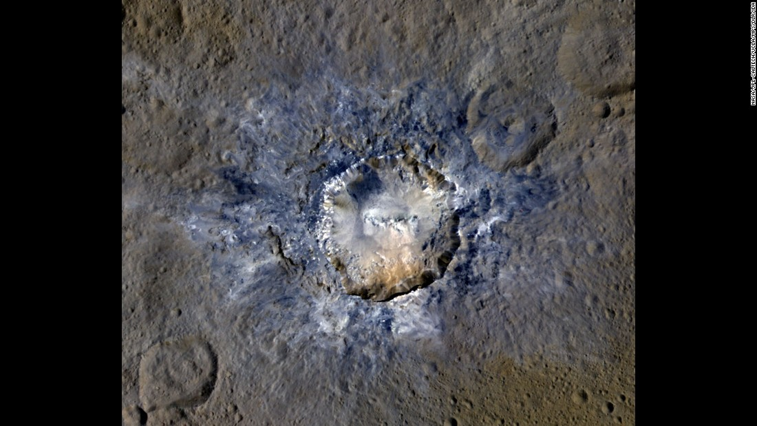 On April 19, NASA released new images of bright craters on Ceres. This photo shows the Haulani Crater, which has evidence of landslides from its rim. Scientists believe some craters on the dwarf planet are bright because they are relatively new. Click through to see more wonders of the universe.