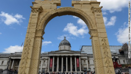 LONDON, ENGLAND - APRIL 19:  A replica of the Triumphal Arch at Palmyra is unveiled at Trafalgar Square on April 19, 2016 in London, England. The 2000 year old arch in the Syrian city of Palmyra was destroyed by Islamic State forces in October 2015. The replica is intended as an act of defiance against ISIS.  (Photo by Chris Ratcliffe/Getty Images)