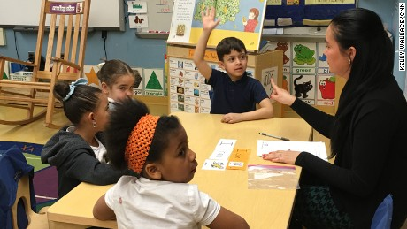 Kindergarten teacher Amy Colt doing a guided reading lesson at P.S. 94 in the Bronx.