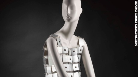 """""""Chainmail"""" tunic, by Paco Rabanne, 1967 Paco Rabanne's first haute couture collection was titled '12 unwearable dresses in contemporary materials', catapulting him into the limelight as one of the first designers to move beyond the idea that garments should be made only from fabric. His futuristic designs broke with the tradition of couture and are remembered as some of the most iconic fashions of the 1960s. His chain-linked, armour-plated metal mini dresses and tunics caused a sensation and were famously worn by Jane Fonda in Barbarella and by Audrey Hepburn in Two for the Road."""