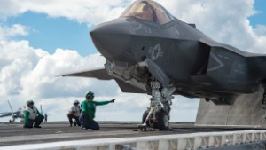 151006-N-KK394-141  ATLANTIC OCEAN (Oct. 6, 2015) An F-35C Lightning II carrier variant joint strike fighter assigned to the Salty Dogs of Air Test and Evaluation Squadron (VX) 23 prepares for take-off aboard the aircraft carrier USS Dwight D. Eisenhower (CVN 69). The F-35C Lightning II Pax River Integrated Test Force is conducting follow-on sea trials. (U.S. Navy photo by Mass Communication Specialist Seaman Anderson W. Branch)