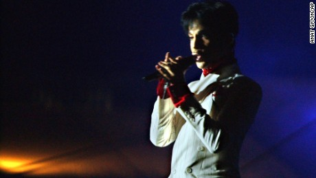 "Prince performs in Hong Kong on October 17, 2003. Prince's concert was the the opening act in a four-week government-sponsored music festival titled ""Hong Kong Harbor Fest,""  aimed at boosting the image of SARS-battered Hong Kong."