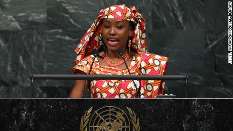 Hindou Oumarou Ibrahim addresses the United Nations on Friday.
