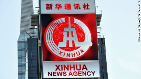 A new electronic billboard leased by Xinhua, the news agency operated by the Chinese government, makes its debut August 1, 2011 in New York's Times Square. The LED sign is 60 feet (18.3 meters) by 40 feet (12.2 meters) and is located on the building at 2 Times Square. AFP PHOTO/Stan HONDA (Photo credit should read STAN HONDA/AFP/Getty Images)