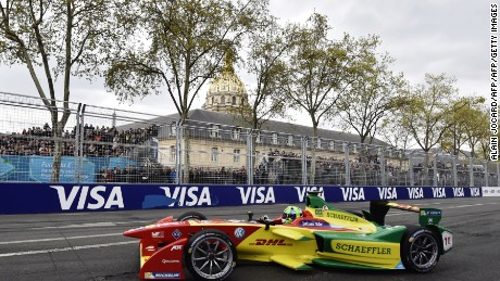 ABT Schaeffler Audi Sport's Brazilian racing driver Lucas Di Grassi competes in the French stage of the Formula E championship around the Invalides in Paris on April 23, 2016. Lucas di Grassi clinched his third win of the Formula E season at the inaugural Paris street circuit race to stretch his lead at the top of the drivers' standings. The City of Light provided a spectacular backdrop for Saturday's seventh leg of the 11-race championship with a 1.93-kilometre circuit around Les Invalides, notably the site of Napoleon's tomb. AFP PHOTO / ALAIN JOCARD / AFP / ALAIN JOCARD        (Photo credit should read ALAIN JOCARD/AFP/Getty Images)