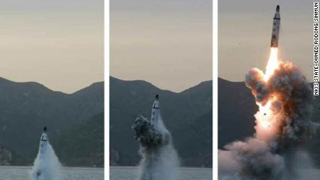 pictures allegedly showing North Korea testing submarine-launched ballistic missile (SLBM) off the eastern coast of the Korean peninsula on Saturday