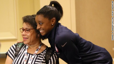 March 8, 2016 - Los Angeles, California, Russia - USA Gymanstics' Simone Biles with her mother Nellie during the ''Team USA Media Summit'' held in Beverly Hills, 2016. (Cal Sport Media via AP Images)
