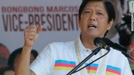 Philippine vice-presidential candidate Ferdinand Marcos Jr., the son of late dictator Ferdinand Marcos, delivers his speech during a campaign rally in Batac town in Ilocos Norter province, north of Manila on February 9, 2016, at the start of the political campaign for the May 10 national elections. AFP PHOTO / AFP / STR        (Photo credit should read STR/AFP/Getty Images)